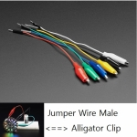 [로봇사이언스몰] [Adafruit][에이다프루트] Small Alligator Clip to Male Jumper Wire Bundle - 6 Pieces(길이:15.7Cm) id:3448